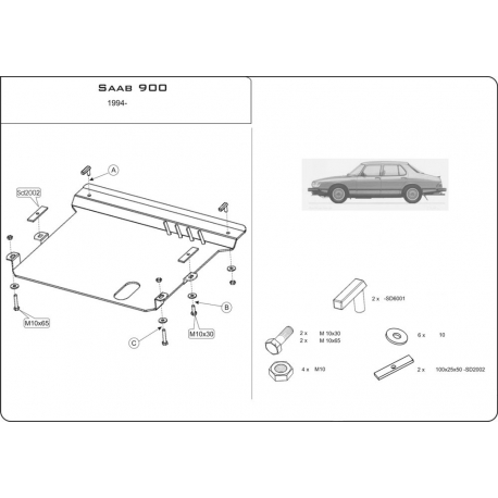 Saab 900 II (cover under the engine and gearbox) - Metal sheet