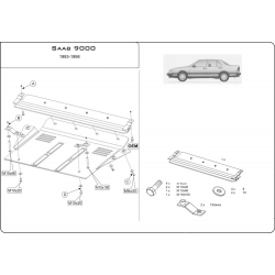 Saab 9000 (cover under the engine and gearbox) 2.0, 2.3, 3.0 - Metal sheet