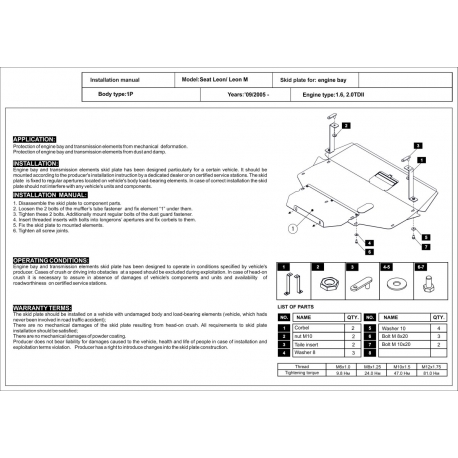 Seat Toledo III Kryt pod motor a převodovku 1.6, 2.0TDI - Plech