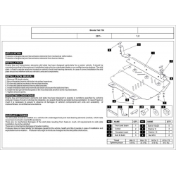 Škoda Yeti 2WD + 4WD (cover under the engine and gearbox) 1.2TSI - Metal sheet