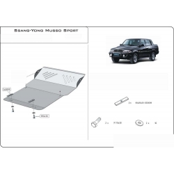 Ssang Yong Musso Sport (cover under the engine) 2.0, 2.9 - Metal sheet