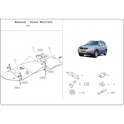 Ssang Yong Rexton (cover under the engine and gearbox) 2.7 TD, 2.7 Xdi, 2.9 TD, 3.2 (4WD) - Aluminium