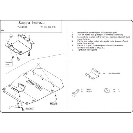 Subaru Impreza Unterfahrschutz 1.6, 1.8, 2.0 - Alluminium