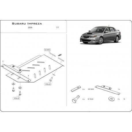 Subaru Impreza XV (Cover the automatic transmission) 2,0 - Metal sheet