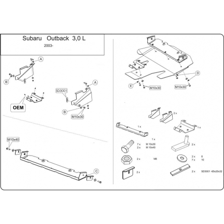 Subaru Outback Unterfahrschutz 3.0 - Stahl
