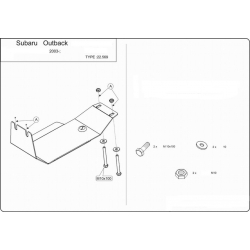 Subaru Outback (Kryt diferenciálu zadní náprava) 2.0, 2.5, 3.0 - Plech