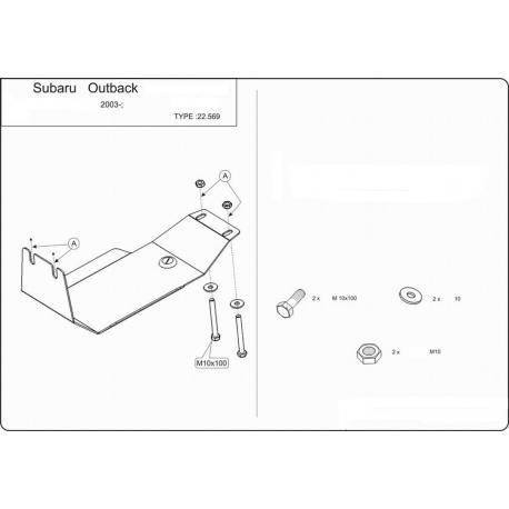 Subaru Outback (Differential abdeckung hintere Achse) 2.0, 2.5, 3.0 - Alluminium