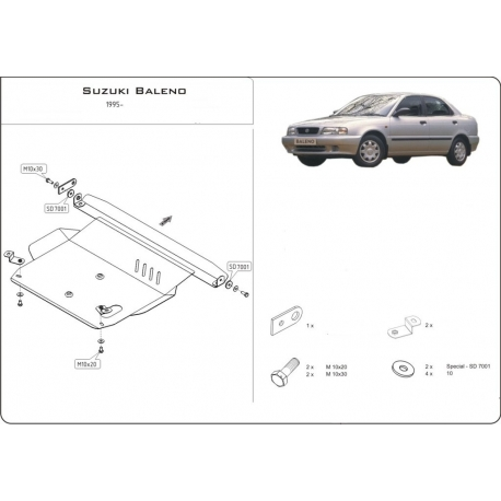 Suzuki Baleno (cover under the engine and gearbox) 1.3, 1.6, 1.8, 1.9D - Metal sheet
