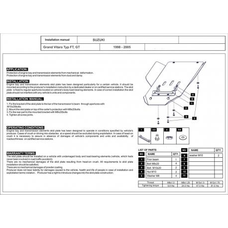 Suzuki Grand Vitara Getriebeschutz Pouze benzin - Alluminium