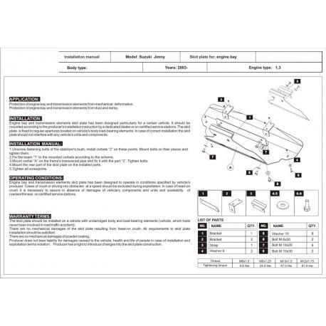 Suzuki Jimny (cooler cover) 1.3 (4WD), 1.5D - Metal sheet