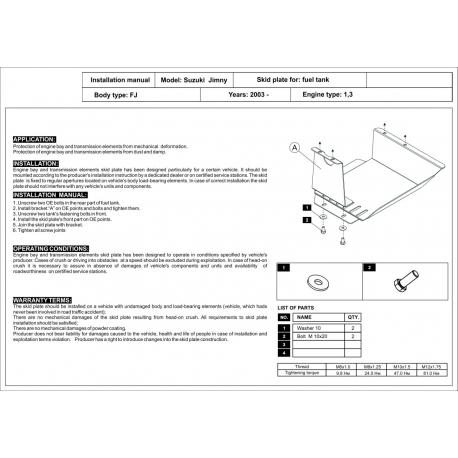 Suzuki Jimny (Cover the tank) 1.3 - Metal sheet