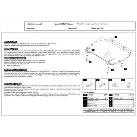 Suzuki Kizashi Motor und Getriebeschutz 2.4 - Stahl