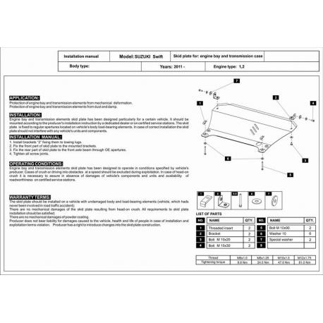 Suzuki Swift Motor und Getriebeschutz 1.2 - Stahl