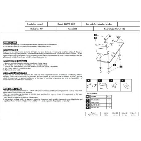 Suzuki SX 4 (differential cover rear axle) - Metal sheet