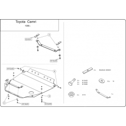 Toyota Camry (cover under the engine and gearbox) 2.2, 3.0 - Metal sheet