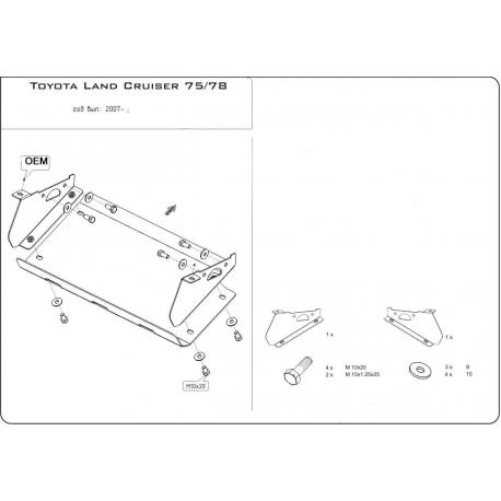 Toyota Land Cruiser 75 / 78 (Kryt řízení) 4.2 D - Hliník