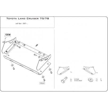 Toyota Land Cruiser 75 / 78 (Abdeckung der Lenkung) 4.2 D - Alluminium
