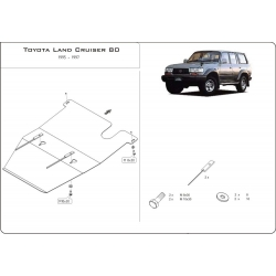 Toyota Land Cruiser 80 (cover under the gearbox) 4.5 - Metal sheet