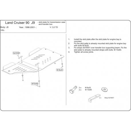 Toyota Land Cruiser 90 / Prado 3-Tür Getriebeschutz - Stahl