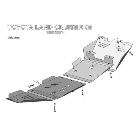 Toyota Land Cruiser 90 / Prado 5-doors (cover under the gearbox) - Aluminium