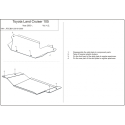 Toyota Land Cruiser 105  (cover under the gearbox) - Metal sheet