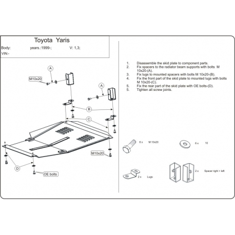 Toyota Yaris / Echo / Verso (cover under the engine and gearbox) - Metal sheet