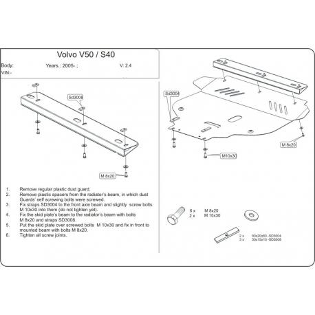 Volvo S40 / V50 Motor und Getriebeschutz 2.4 - Alluminium