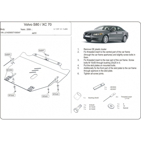 Volvo S60 (cover under the engine and gearbox) 2.0 - Aluminium