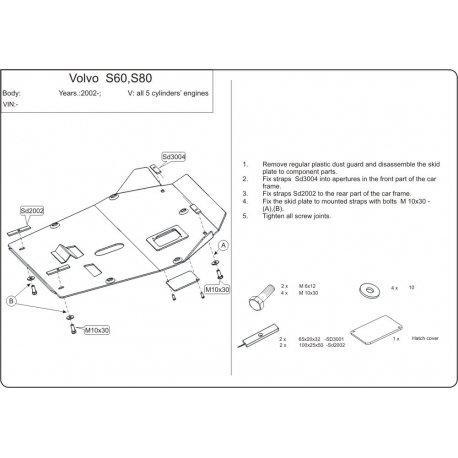 Volvo V70 / V70 XC Cross Country Motor und Getriebeschutz - Alluminium