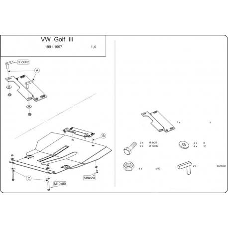 VW Golf III AAE Motor Motor und Getriebeschutz 1.4, 1.6 - 75 PS - Stahl