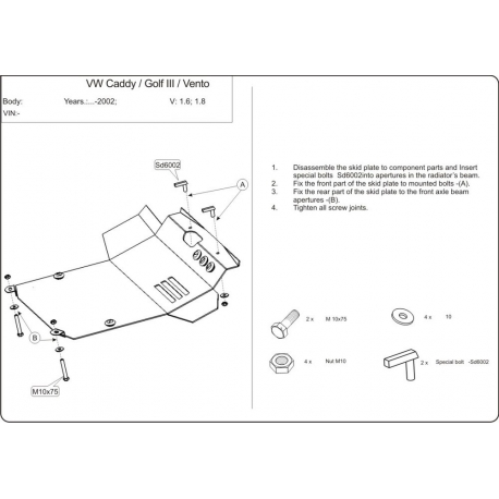 VW Golf III / Vento s posilovačem řízení (cover under the engine and gearbox) expect 1.4, 1.6 - Metal sheet