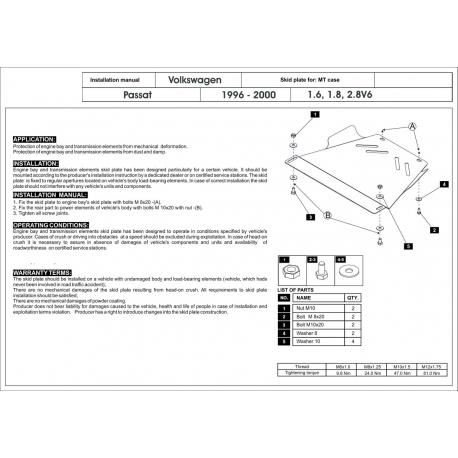 VW Passat Getriebeschutz 1.6, 1.8, 2.3, 2.8 V6 - Stahl