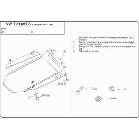 VW Passat (cover under the gearbox) - Metal sheet