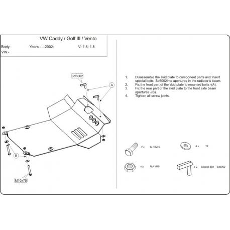 VW Polo Motor und Getriebeschutz außer 1.4, 1.6 - Stahl