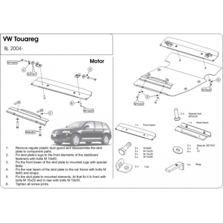 VW Touareg kryt pod motor 2.5l, 3.2l, 3.6l, 3.0TDI, 4.2l, 5.0l - Hliník