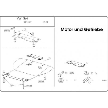 VW Vento / Golf III s posilovačem řízení (cover under the engine and gearbox) 1.4, 1.6 -75 PS - Metal sheet