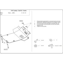 VW Vento / Golf III s posilovačem řízení (cover under the engine a manuální převodovku) expect 1.4, 1.6 - Metal sheet