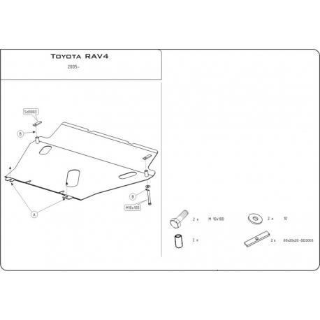 Toyota RAV 4 III Motor und Getriebeschutz 2.0, 2.2D - Stahl