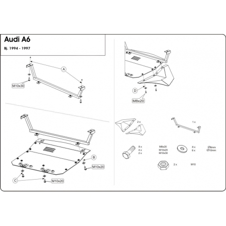 Audi 100 (cover under the engine) 2.0, 2.0 E quattro - Metal sheet