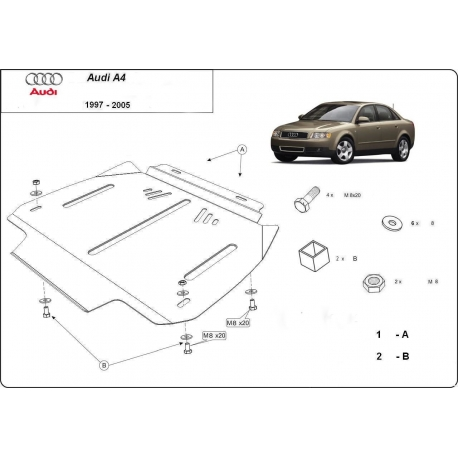 Audi A4 (cover gearbox) 2,6 V6, 2.8B, 2.5D - Metal sheet