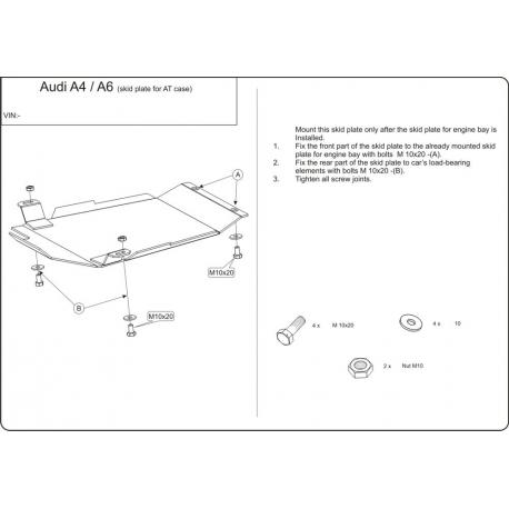 Audi A4 (Kryt pod automatickú prevodovku) - Plech