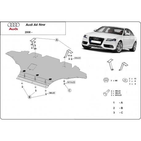 Audi A4 New (cover under the engine) 1.8, 2.0 TFSI quattro, 2.0TDi - Metal sheet