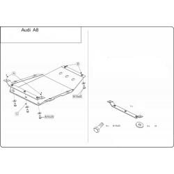 Audi A8 (cover under the gearbox) 3.7, 4.2 - Metal sheet