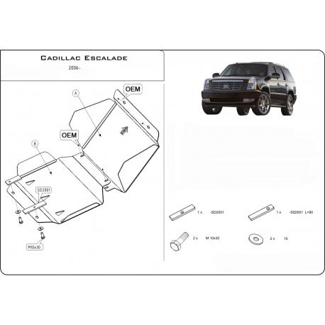 Cadillac Escalade III (cover under the engine) 6.2 V8 - Aluminium