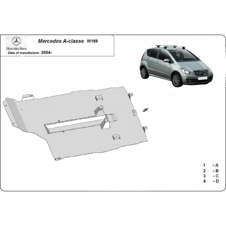 Mercedes A-classe W169 (cover under the engine) - Metal sheet
