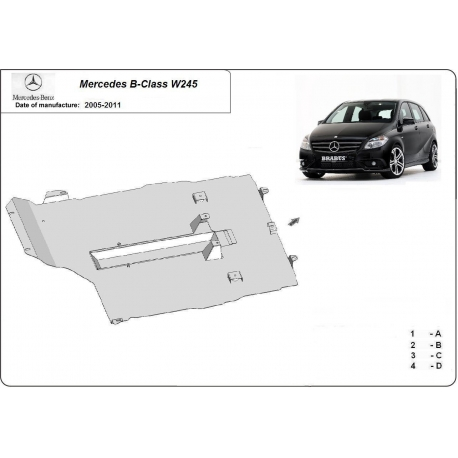 Mercedes B-classe W245 (cover under the engine) - Metal sheet