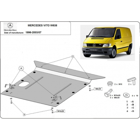Mercedes Vito W638 (cover under the engine) - Metal sheet