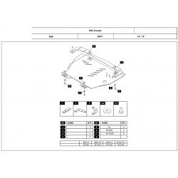 Mini Cooper (cover under the engine and gearbox) 1.4, 1.6 - Aluminium