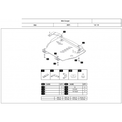 Mini Cooper (cover under the engine and gearbox) 1.4, 1.6 - Metal sheet