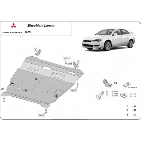 Mitsubishi Lancer (covery cover under the engine) - Metal sheet